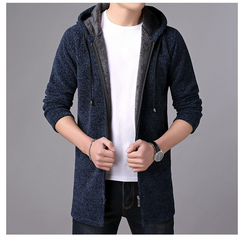 Hat Sweaters Winter Mens clothes Male Autumn Cardigan Fashion Homme Thick Slim Keep Warm Men Solid Smart Casual Sweaters MOOWNUC