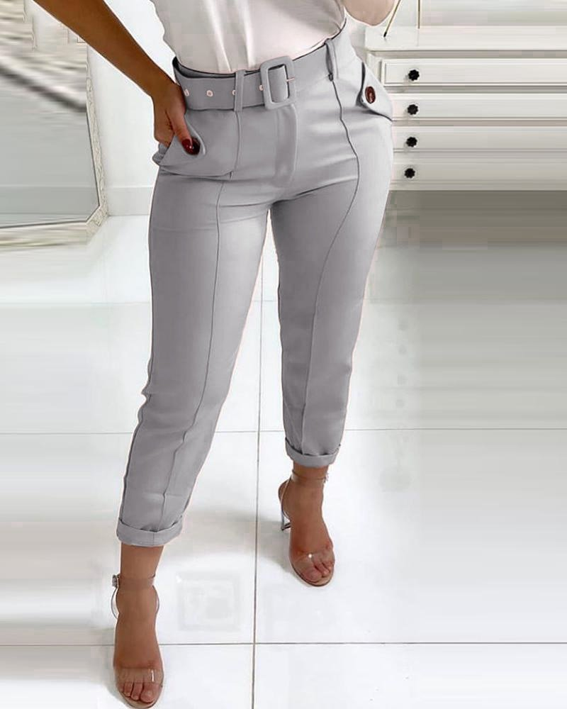 New Fashion Casual  Pants For Women Trousers  Pocket Design
